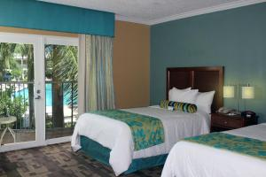 Double Room with Two Double Beds and Pool View