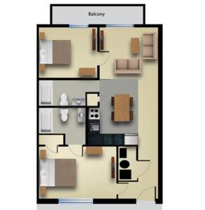 Two-Bedroom Suite with Riverview and Balcony