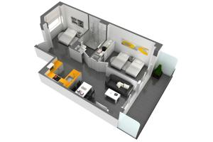 One-Bedroom Apartment with Balcony with City View (1-3 Adults)