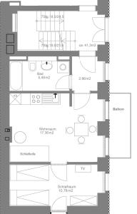 One-Bedroom Apartment with open kitchen and balcony (41 m2)