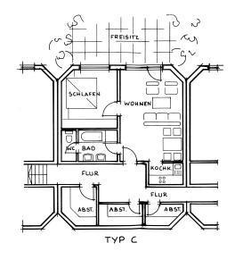 Appartement mit Schlafzimmer und kleine Terrasse