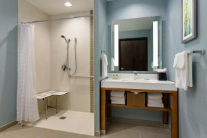 Pokój z łóżkiem typu king-size, rozkładaną sofą i bezprogową kabiną prysznicową – przystosowany dla niepełnosprawnych