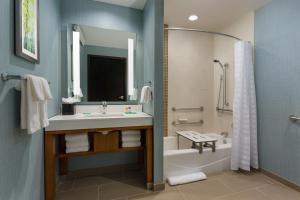 Pokój z łóżkiem typu king-size, rozkładaną sofą i wanną – przystosowany dla niepełnosprawnych