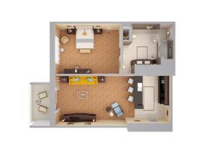 Luksusowy Apartament z 1 sypialnią i widokiem na okolicę