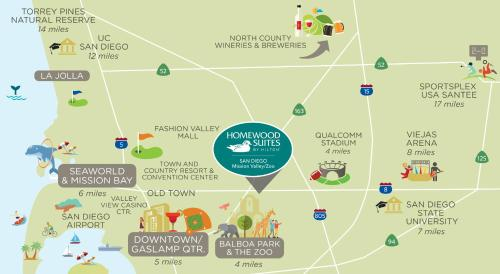 Fashion Valley San Diego Map.Homewood Suites By Hilton San Diego Mission Valley Zoo Hotel In Ca