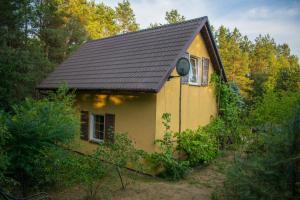 Dom nad jeziorem wśród lasów