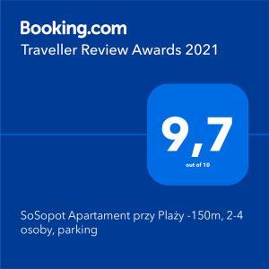 SoSopot Apartament przy Plaży 150m 24 osoby parking