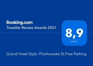 Grand Hotel Style Piotrkowska StFree Parking