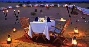 golden sandstone hotel desert Safari camp