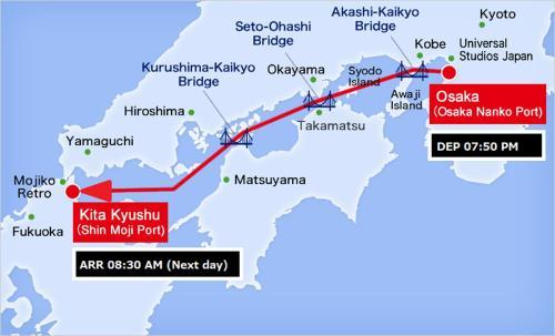 Meimon Taiyo Ferry 2nd sailing from Osaka to Kitakyushu