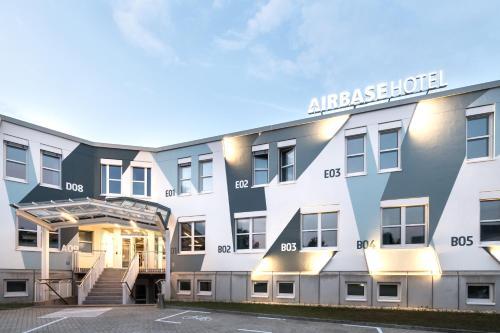 The facade of Airbase Hotel for Ironman 70.3 Graz, Austria.