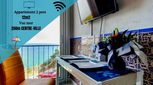 ". Studio ""Les Roches blanches"" - Vue mer & Vignes"