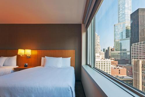 Hyatt Place Chicago River North Номер с 2 кроватями размера «queen-size» и видом на город - Для некурящих