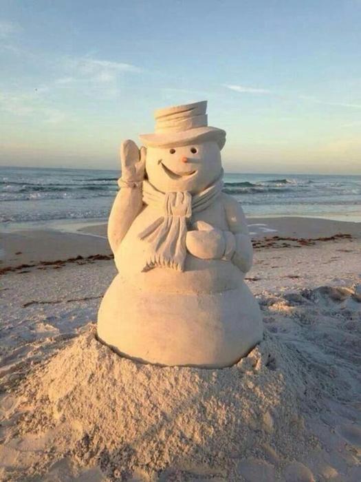 Sněhulák v písku - Snowman in Sand