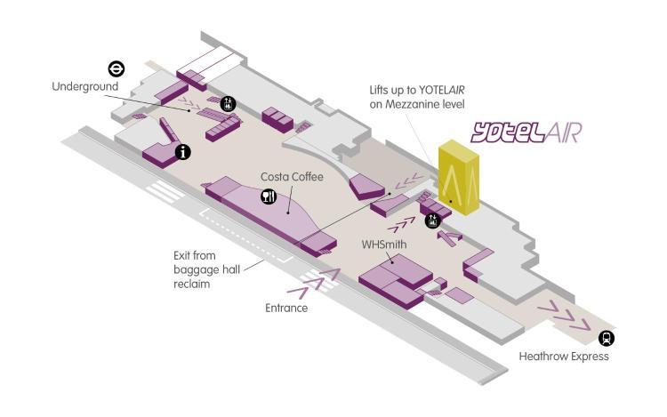 Arrivals Mezzanine Landside, Terminal 4, London Heathrow Airport, Hounslow, England.