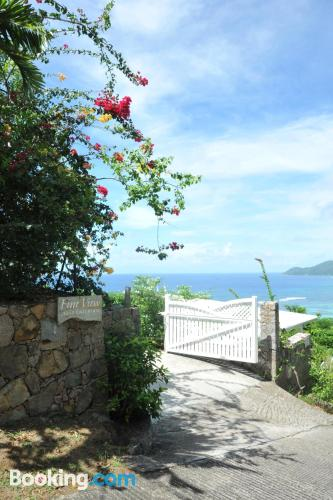 Place for 2 in Anse Royale with terrace.