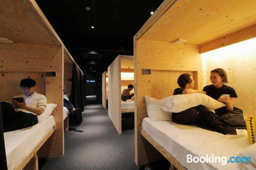 Superb location and air-con in Hiroshima for two people.