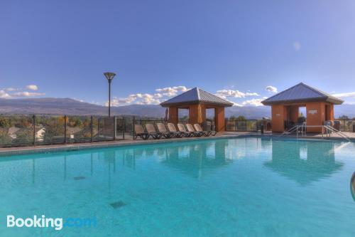 Terrace and internet place in Kelowna with pool