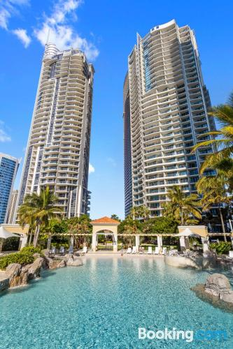 Apartment for six or more in Gold Coast with terrace and internet.