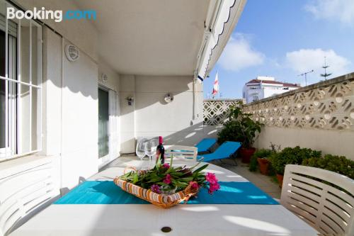 Two bedrooms place with terrace and swimming pool.