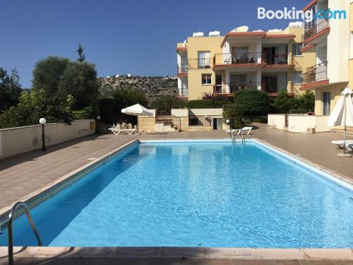 Terrace and wifi home in Peyia with swimming pool.
