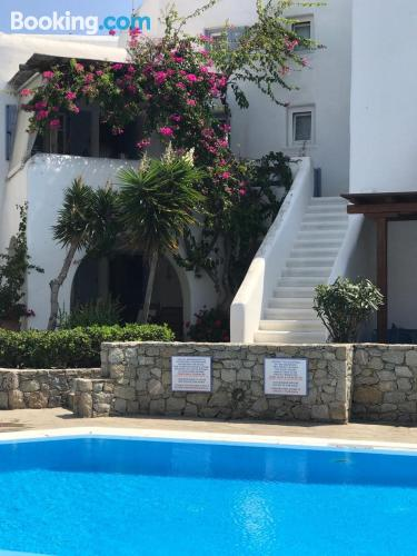 Family friendly apartment in Ornos with pool and terrace.