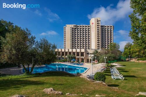 Swimming pool and internet place in Jerusalem with terrace