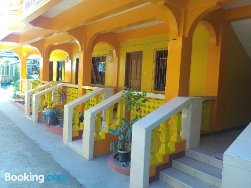 Terrace and internet place in Puerto Galera. Great for solo travelers