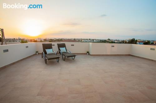Pool and air-con apartment. Perivolia experience!.