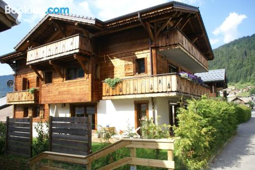 Terrace and internet place in Morzine. Ideal for six or more