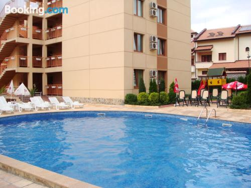Two bedrooms, perfect location with terrace and swimming pool
